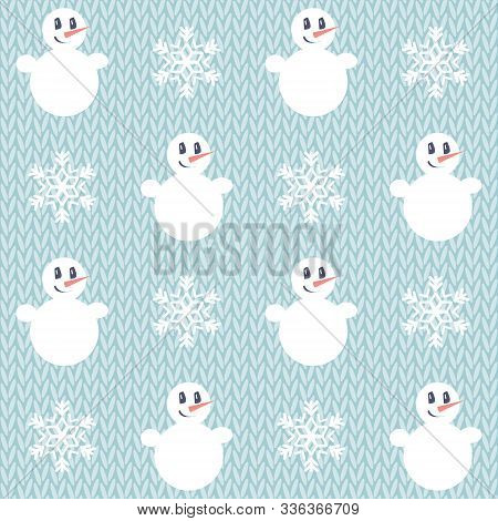Christmas Pattern. Seamless Vector Illustration With Snowman And Snowflakes, Knitted Background