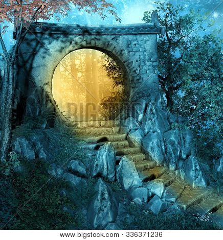 Old Passage In The Autumnal Forest At Sunset - 3d Illustration