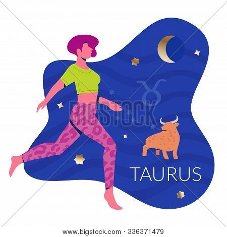 The Bull Woman Zodiac And Horoscope Concept. Modern Vector Art With Woman And Bull. Illustration For