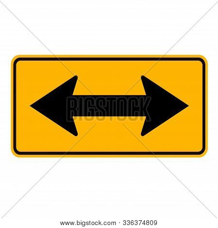 Warning Go Left Or Right By The Arrows Traffic Road Sign,vector Illustration, Isolate On White Backg