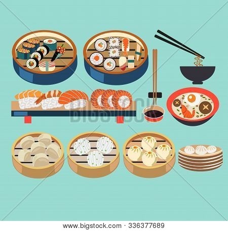 Vector Asian Food Illustration Set Of Steamers With Dim Sum, Baozi And Japanese Dishes, Sushi Set. V