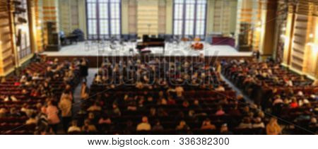 Blurred Background. Performance Of A Symphony Orchestra In The Concert Hall Of The Odessa Philharmon