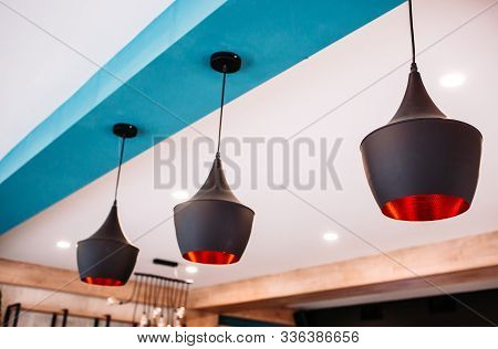 Ceiling With Modern, Decorative Chandeliers. Interior Design Style