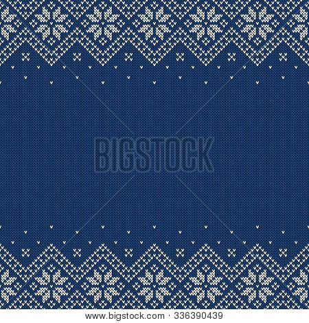 Knitted Seamless Background With Copyspace. Blue And White Sweater Pattern For Christmas Or Winter D