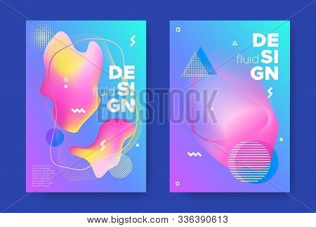 Blue Music Banner. Electronic Sound Background. Graphic Memphis Pattern. Pink Fluid Cover. Vector Mu