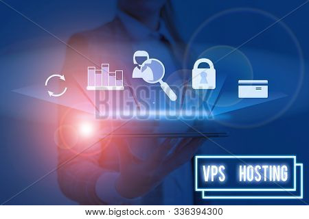 Word writing text Vps Hosting. Business concept for mimics a dedicated server within a shared hosting environment. poster