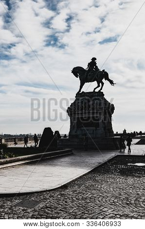 Budapest, Hungary - Nov 6, 2019: Silhouette Of The Equestrian Statue Of Savoyai Eugen In The Courtya