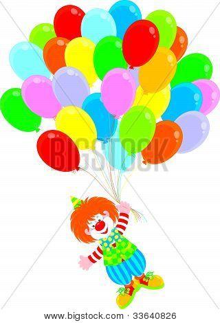 Circus clown flies with balloons