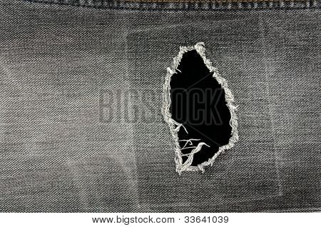 Detail of torn Black denim front view jean