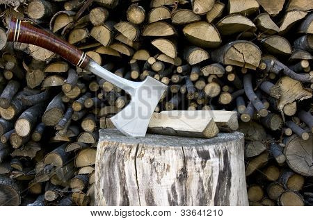 Hatchet Sticking In A Stump