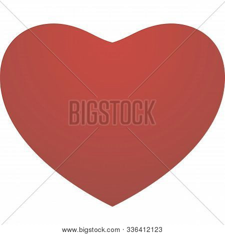 Red Vector Love Heart On A White Background. Valentines Day