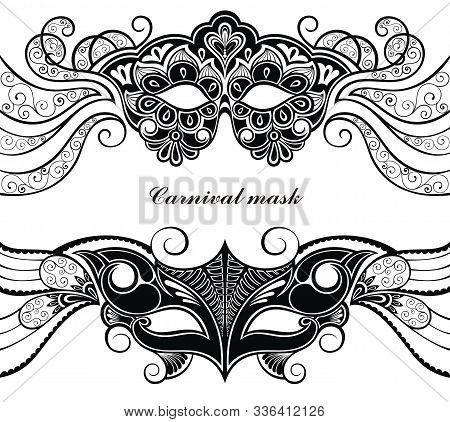 Mask Vector Silhouette. Masks Carnival Italian Masquerade