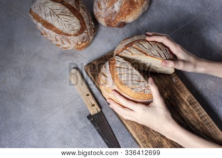 Sourdough Bread. Freshly Baked Organic Wheat Bread. Child Holding Fresh Round Bread.