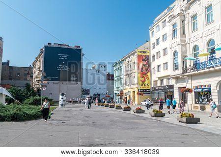 Ostrava, Czech Republic - August 29, 2019: Street View With People Of Ostrava City Center.