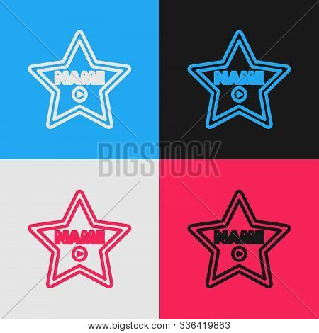 Color Line Hollywood Walk Of Fame Star On Celebrity Boulevard Icon Isolated On Color Background. Hol