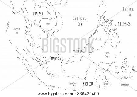 Map Of Greater Sunda Islands. Handdrawn Doodle Style. Vector Illustration