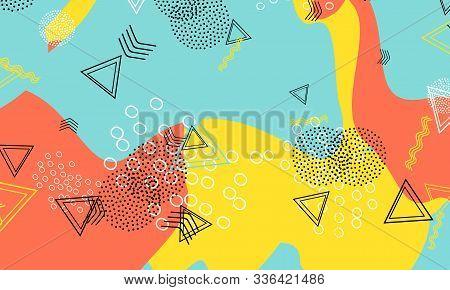 Minimal Coral Poster. Mustard Simple Design. Aqua Funky Template. Cartoon Art. Baby Blue Circle Elem