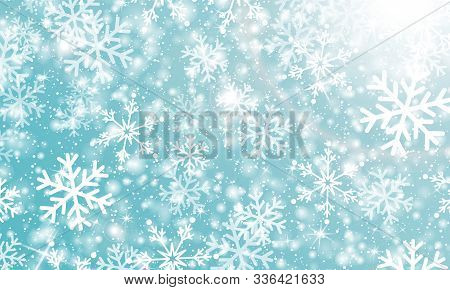 Falling Snow. Vector Illustration With Snowflakes. Winter Blue Sky. Christmas Texture. Sparkle Snow