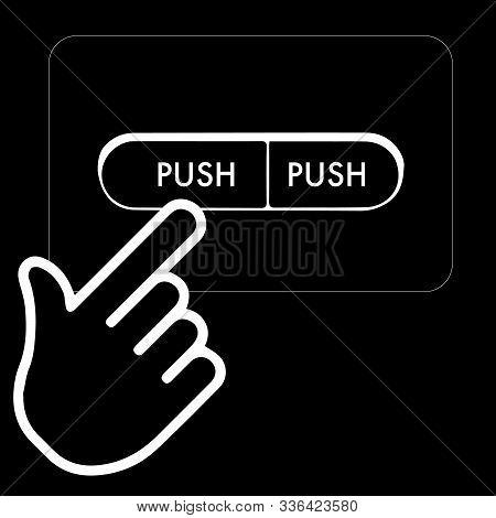 Flat Modern Black Icon On A White Background. Push