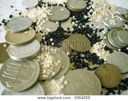 Coins And Glass Beads