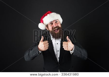 Cheerful Mood. Happiness And Joy. Corporate Christmas Party. Man Bearded Hipster Wear Santa Hat. Chr