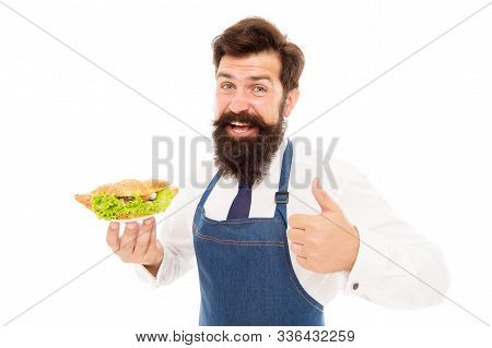 Diet Cures More Than Doctor. Happy Cook Approve Diet Food. Bearded Man Enjoy Healthy Cooking. Health