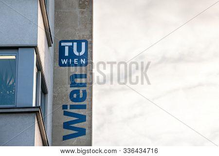 Vienna, Austria - November 6, 2019: Tu Wien Logo On Their Main Building On The Vienna Campus. Also C