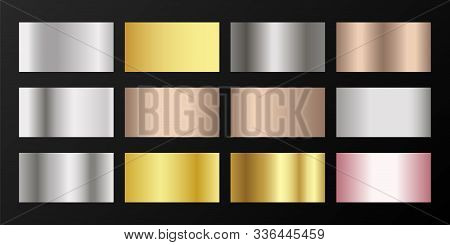 Silver, Platinum, Bronze, Rose Gold Vector Metallic Gradients. Buttons Set. Shiny Chrome, Alloy, Alu