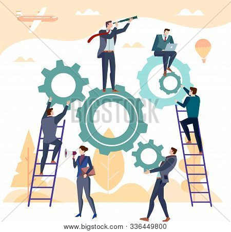Team Of Businesspeople Working With Industrial Gears Or Cogs In A Concept Of Business Or Corporate C