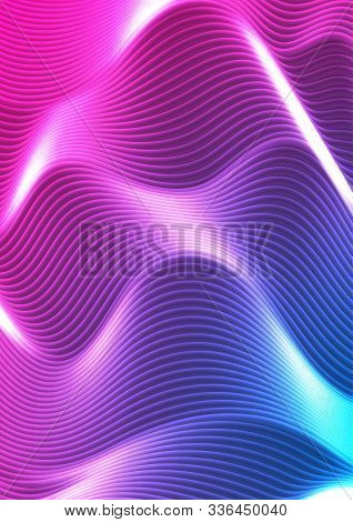 Blue And Purple Neon Glowing Refracted Waves Abstract Background. Vector Design