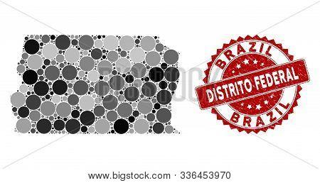 Mosaic Brazil Distrito Federal Map And Circle Seal. Flat Vector Brazil Distrito Federal Map Mosaic O