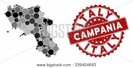 Mosaic Campania Region Map And Circle Seal Stamp. Flat Vector Campania Region Map Mosaic Of Randomiz