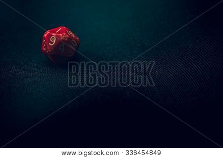 Old Damaged 20 Sided Die With 1 Face Up