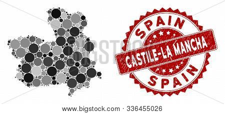 Mosaic Castile-la Mancha Province Map And Round Seal. Flat Vector Castile-la Mancha Province Map Mos