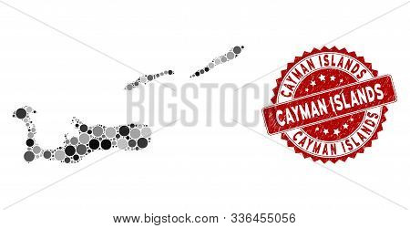 Mosaic Cayman Islands Map And Round Stamp. Flat Vector Cayman Islands Map Mosaic Of Scattered Round
