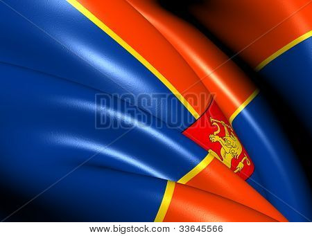 Flag of Krasnoyarsk Krai Russia. Close Up. poster