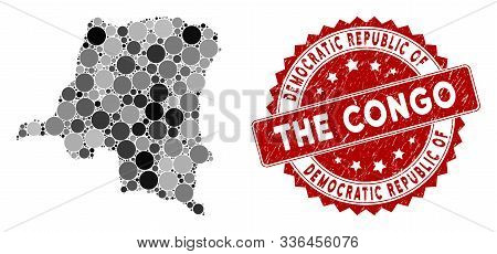 Mosaic Democratic Republic Of The Congo Map And Circle Stamp. Flat Vector Democratic Republic Of The