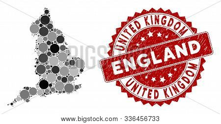 Mosaic England Map And Circle Seal Stamp. Flat Vector England Map Mosaic Of Scattered Circle Element