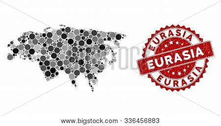 Mosaic Eurasia Map And Round Stamp. Flat Vector Eurasia Map Mosaic Of Scattered Round Items. Red Rub