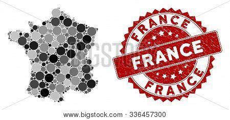 Mosaic France Map And Round Seal Stamp. Flat Vector France Map Mosaic Of Random Round Items. Red Sea