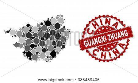 Mosaic Guangxi Zhuang Region Map And Circle Seal Stamp. Flat Vector Guangxi Zhuang Region Map Mosaic