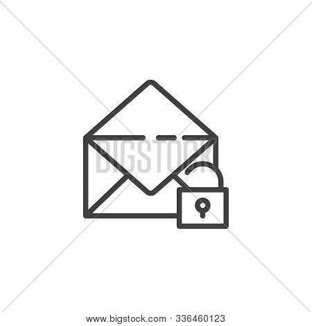 Receive Message Protection Line Icon. Envelope With Open Lock Linear Style Sign For Mobile Concept A
