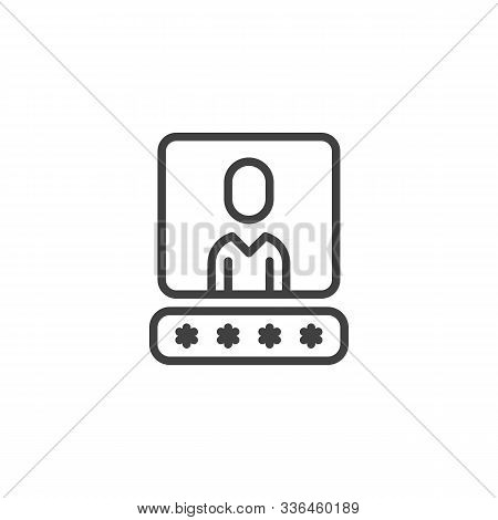 User Account Password Line Icon. Linear Style Sign For Mobile Concept And Web Design. Username Passw