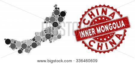 Mosaic Inner Mongolia Map And Circle Watermark. Flat Vector Inner Mongolia Map Mosaic Of Random Circ
