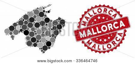 Mosaic Mallorca Map And Circle Seal Stamp. Flat Vector Mallorca Map Mosaic Of Randomized Round Items