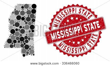Mosaic Mississippi State Map And Round Seal Stamp. Flat Vector Mississippi State Map Mosaic Of Rando