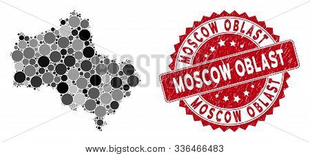 Mosaic Moscow Oblast Map And Round Seal. Flat Vector Moscow Oblast Map Mosaic Of Randomized Round It