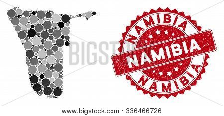 Mosaic Namibia Map And Circle Seal Stamp. Flat Vector Namibia Map Mosaic Of Scattered Circle Items.