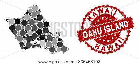 Mosaic Oahu Island Map And Circle Seal. Flat Vector Oahu Island Map Mosaic Of Random Circle Items. R