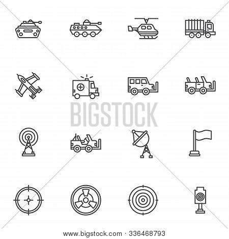 Military Equipment Line Icons Set. Linear Style Symbols Collection, Outline Signs Pack. Vector Graph